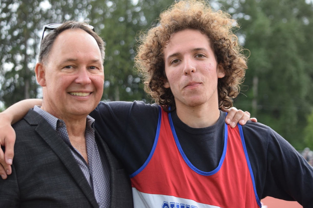Luka Poljak with head High Jump Coach, Larry Blaschuk