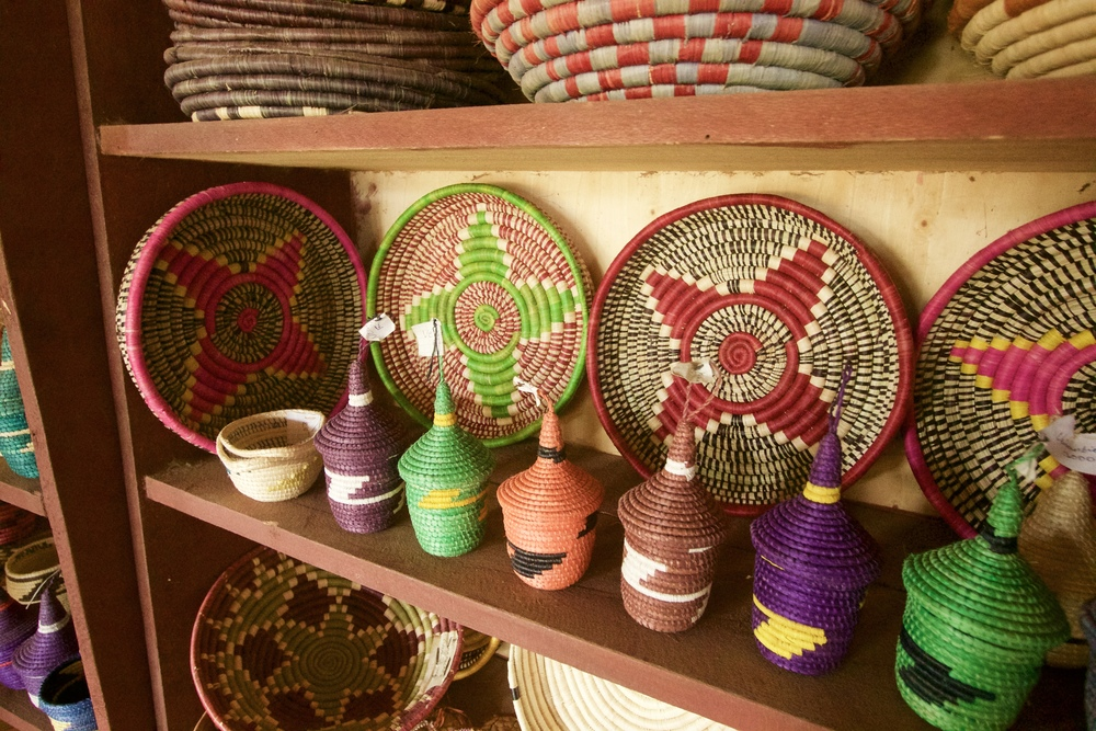 Baskets displayed in the weaving co-op