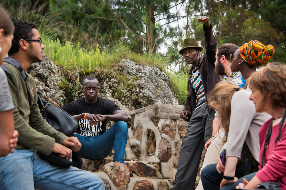 SUNY Buffalo State students in Rwanda (2016) at the Bisesero Genocide Memorial in Kibuye.