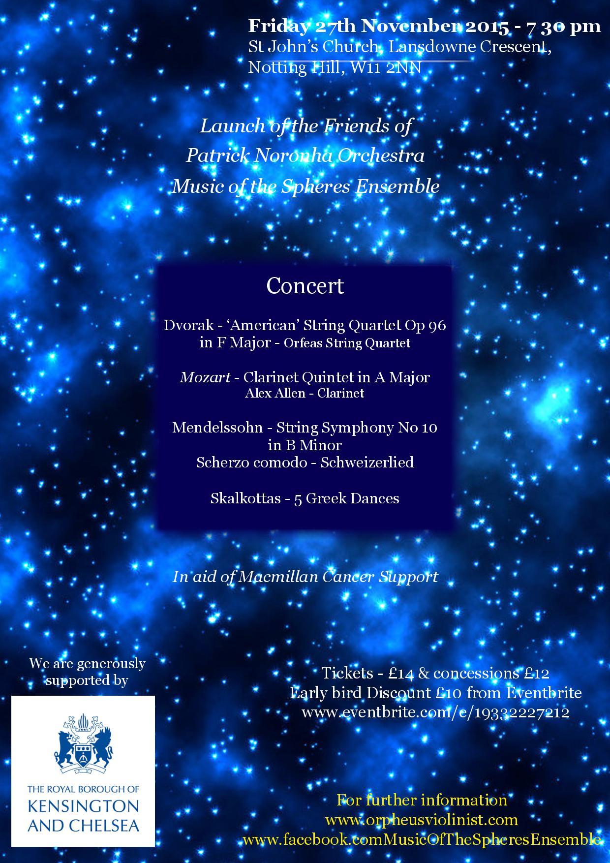 Patrick Noronha Orchestra, Music of the Spheres Ensemble — St John\'s ...