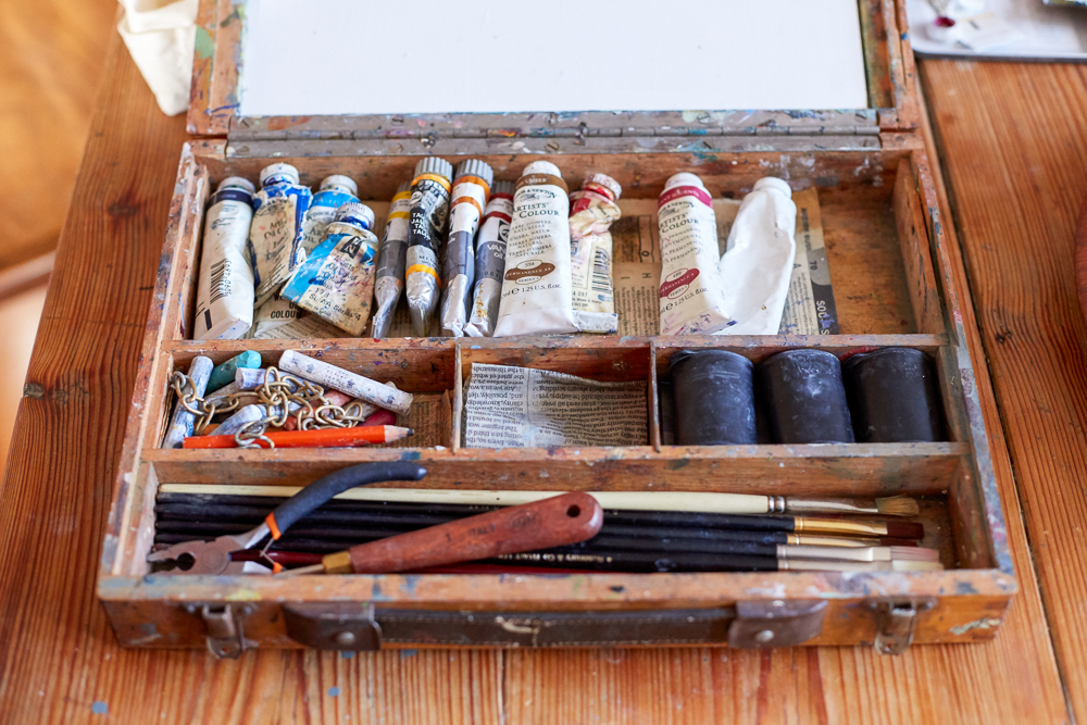 The paint box Cathy uses when out in the field.