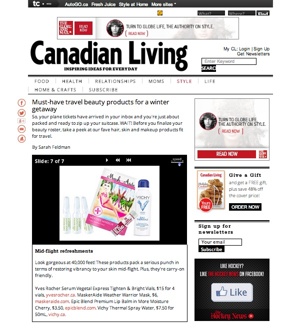 Copy of Canadian Living Magazine Online - MaskerAide Weather Warrior sheet mask