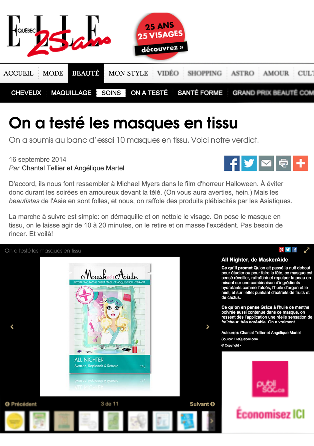 Copy of ELLE Quebec Online - September 2014 MaskerAide All Nighter Sheet Mask