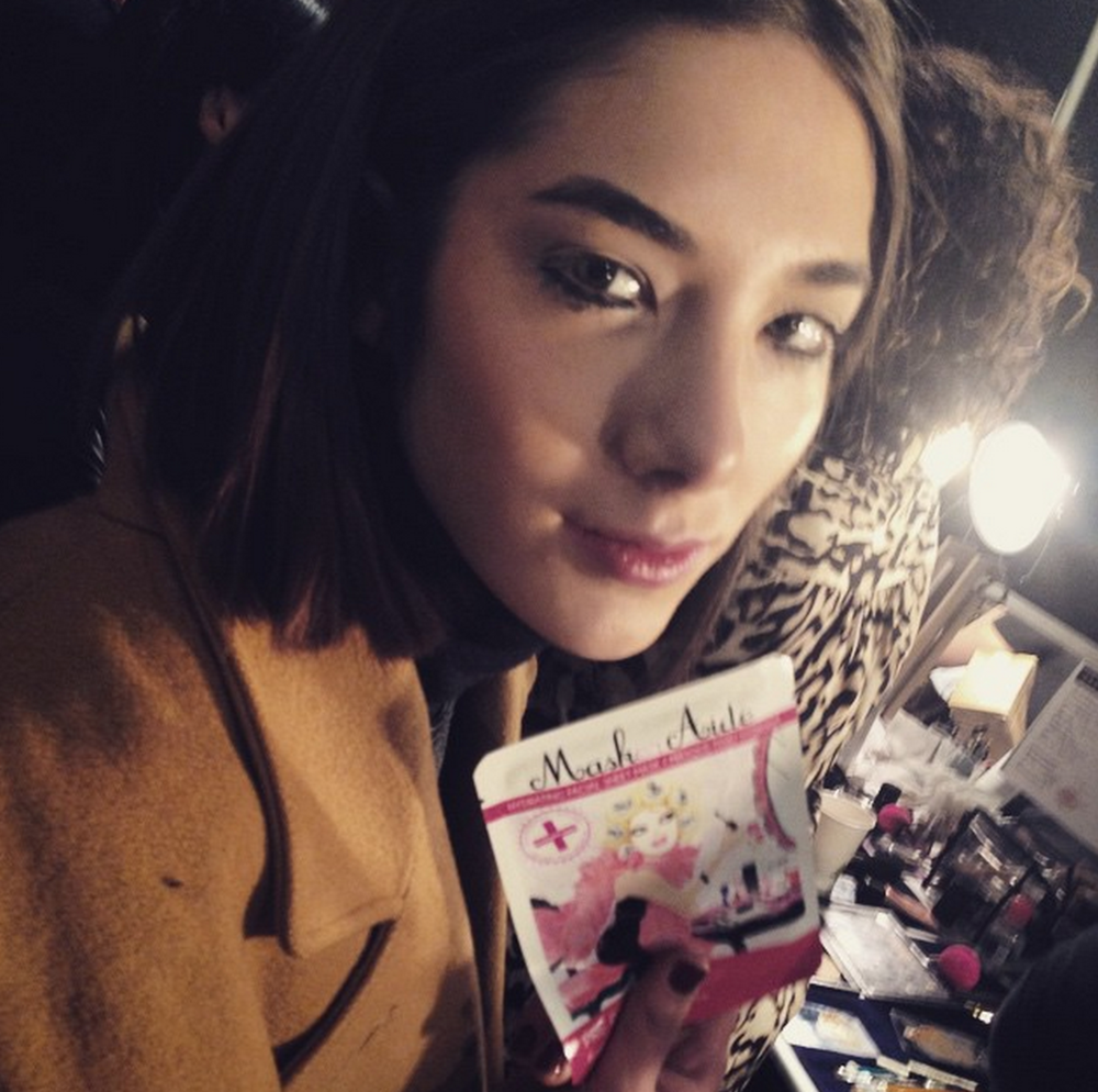 Models with MaskerAide backstage at Rebecca Minkoff