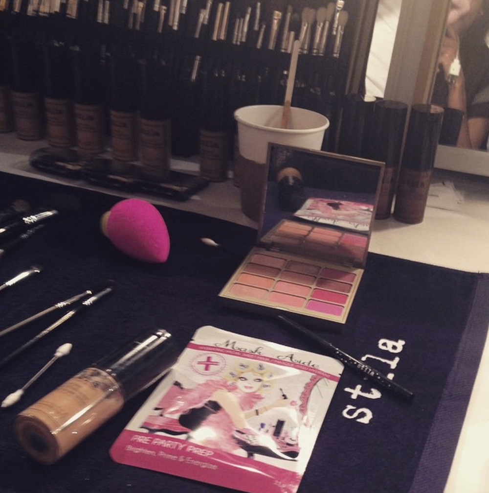 MaskerAide at the Stila Pro tables backstage at NYFW