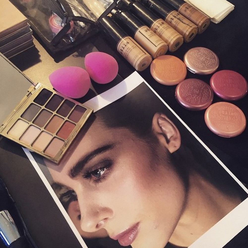 Stila Beauty Look backstage at Clover Canyon FW15