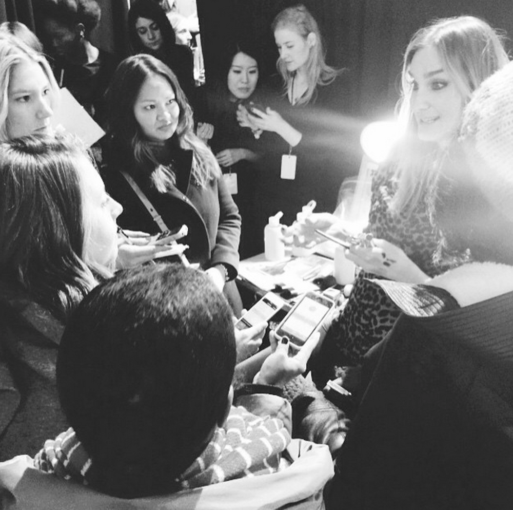 Backstage chatting with Sarah Lucero backstage at Rebecca Minkoff FW15