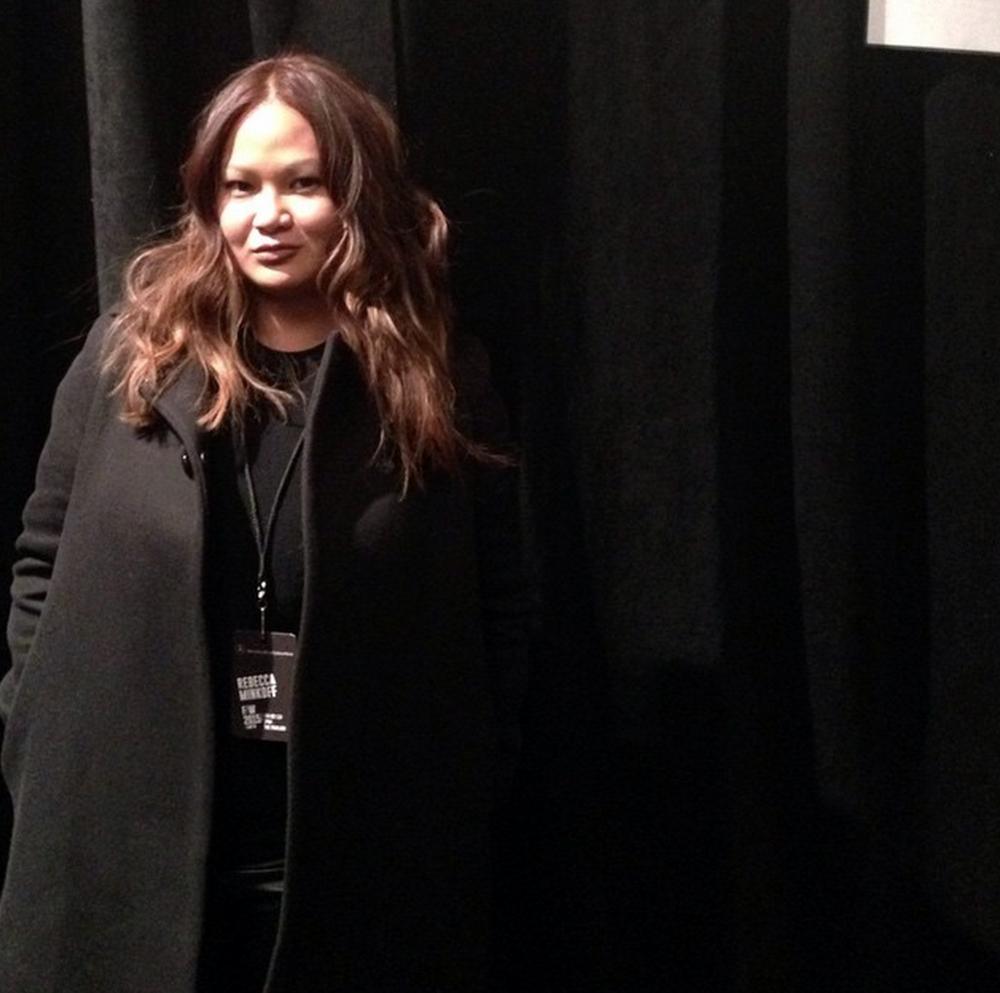 Our VP, Karen, backstage at Rebecca Minkoff