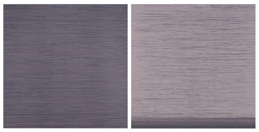 Purple Diptych 2014, 2 panels, each 36 x 36""