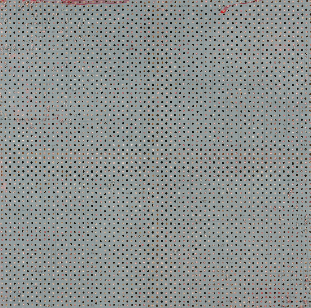 "Reincarnation 2011, acrylic on panel with 5184 drill holes, 36 x 36"" plus plexiglass box below (not pictured)"