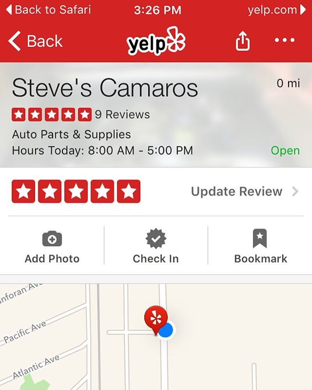 On your next purchase don't forget to give us a review on Yelp if you get a chance! We do appreciate you and your business. #Yelp #stevescamaros #CA #sanbruno #camaro #chevy
