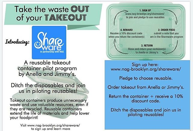 Shareware has arrived, and Greenpoint is the lucky guinea pig! We're piloting a reusable takeout container program with Neighbors Allied for Good Growth (NAG), at @AnellaBK and @JimmysGreenpoint in Greenpoint. - Do you want to take the waste out of your takeout? - Are you a Greenpoint resident? Hop on the Shareware train! Link in bio for participation survey, or type goo.gl/3n5PaM into your browser to get started! Use #TakeOutTheWaste to take the waste out of your takeout! . . . #TakeOutTheWaste #shareware #wastelessnyc #reusables #reusable #takeout #reusablecontainer #wastereduction #greenpoint #brooklyn #sustainability #environment #nyc #recycling #nycrecycles #restaurantrecycling