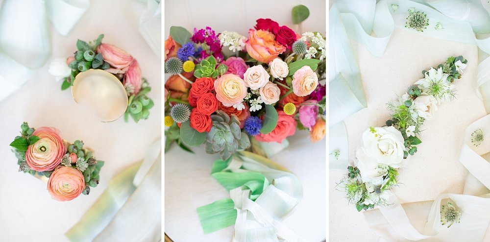 New Jersey and New York wedding photographer Ashley Mac photographs floral bouquets and boutonnières for Cassandrah Shah Florals