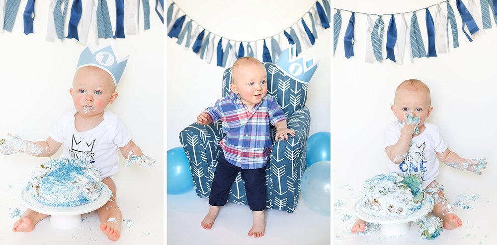 Ashley Mac Photographs capture first birthday cake smash with blue and ivory theme