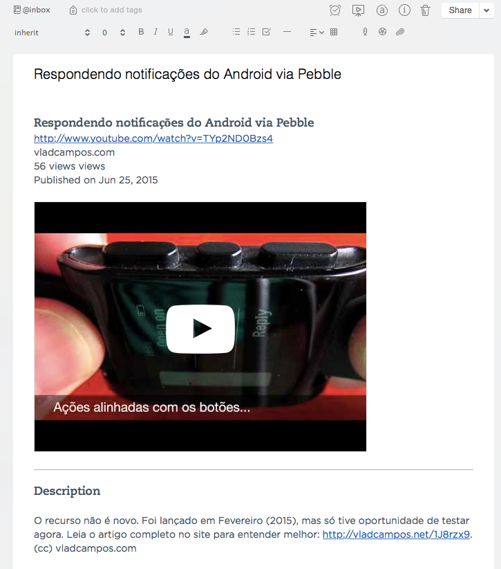 Exemplo de página do YouTube em Nota do Evernote