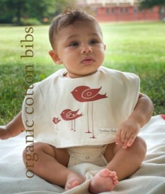 Handmade Organic Cotton Bib Too Tall Birdie Birds for Baby