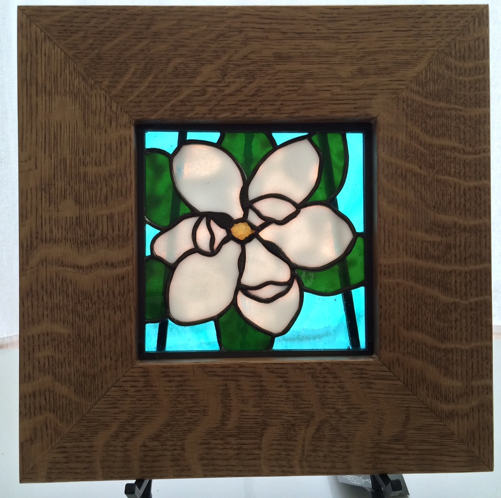 "LITTLE MAGNOLIA   7"" Wide x 7"" High   $110.00 + Shipping & Handling  Fits 12"" Oak Frame (pictured). additional $85.00"