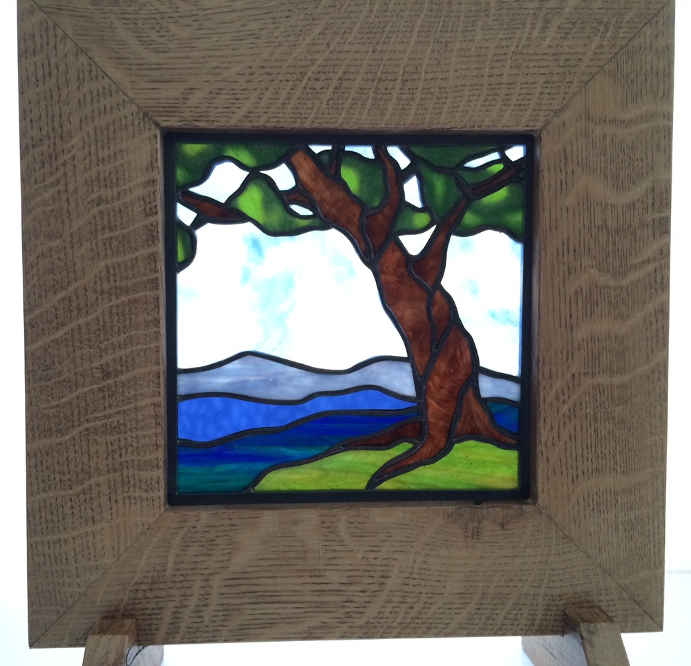 "LITTLE TREE    9"" Wide x 9"" High. With kiln-formed glass used for the sky.  $195.00 + Shipping & Handling   Fits 14"" Oak Frame (pictured). additional $95.00"
