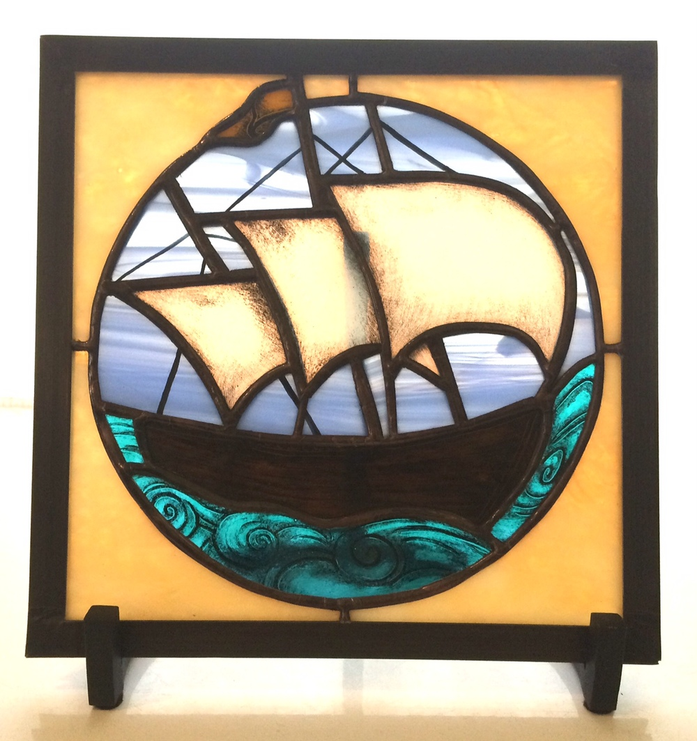 "SHIP  9"" Wide X 9"" High. With hand-painted details. $195.00 + Shipping & Handling  Fits 14"" Oak Frame, additional $95.00"