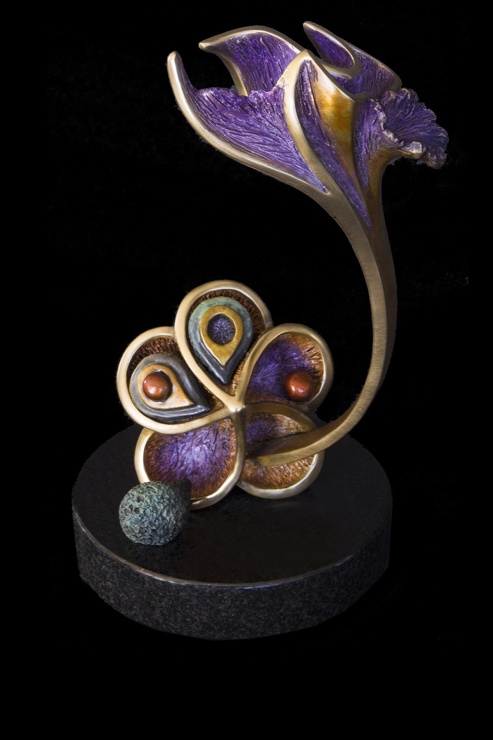 "Bursting Forth with Joy, Bronze, 10.5"" H x 6.5"" W x 5.5"" D, Edition of 85:  There are times in our lives when we must consciously choose to crack open the protective shell we shield our seed of joy in and allow that seed to break free, take root, and then burst forth and bloom in all its glory."