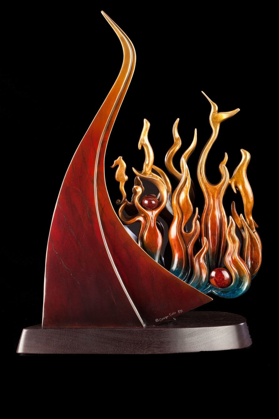 "Firebird Rising   , Bronze and Carnelian, 27"" H x 18"" W x 8"" D, Edition of 35:  A gentle, graceful, elegant, peace-loving firebird rises out of the ashes of a past Phoenix to honor the importance and value of earth, air, water, and fire in our Universe."