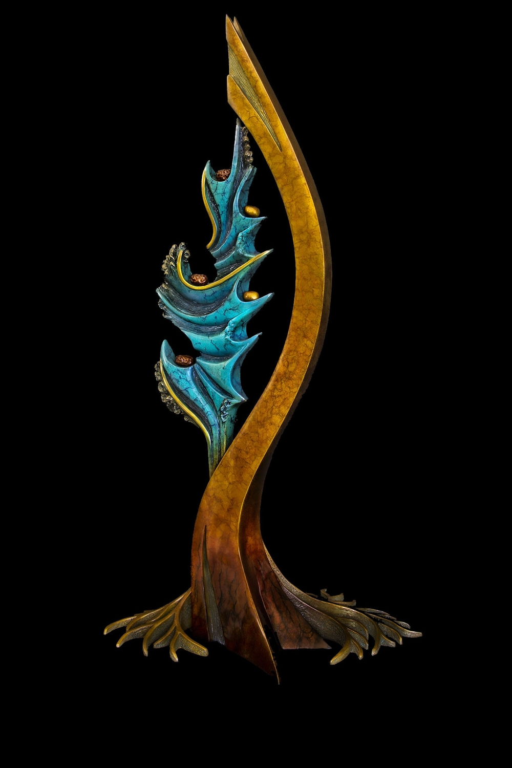 "Roots of Inspiration, Bronze, 37"" H x 19"" W x 15.25"" D, Edition of 35:  In order to thrive in this world and/or allow the creative process to blossom forth in all its glory, a stable, grounded, yet flexible element in our lives needs to take root. From these grounded roots, newness, joy, creativity, daring, and eventually the seeds of further growth and exploration spring forth like an arrow from a bow.  The Tree of Life here also serves as a symbol for the earth with the ever-changing, ever-creating ocean feeding off of it."