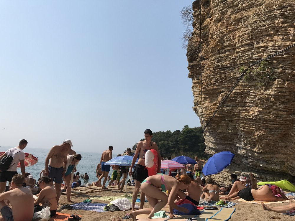 Crowds at Budva's Public Beach