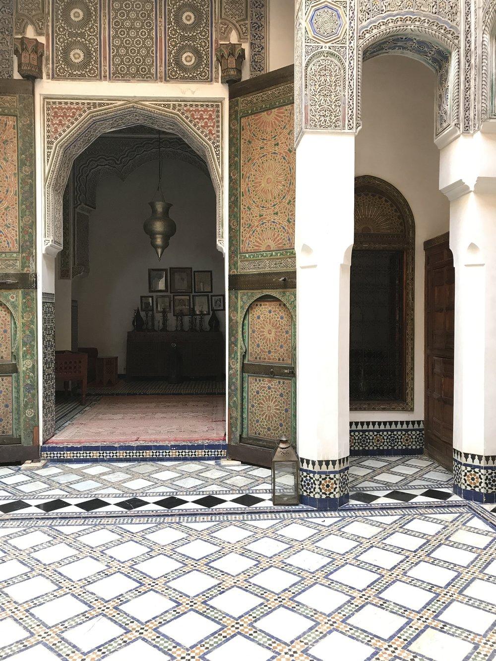 The internal courtyard at Dar Saffarine.