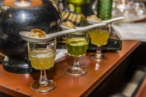 dumpling shooters (photo courtesy chaplin bar and restaurant)