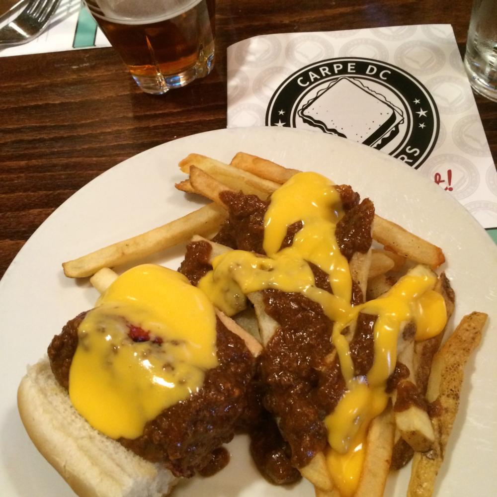 chili half snoke and cheese fries at ben's chili bowl