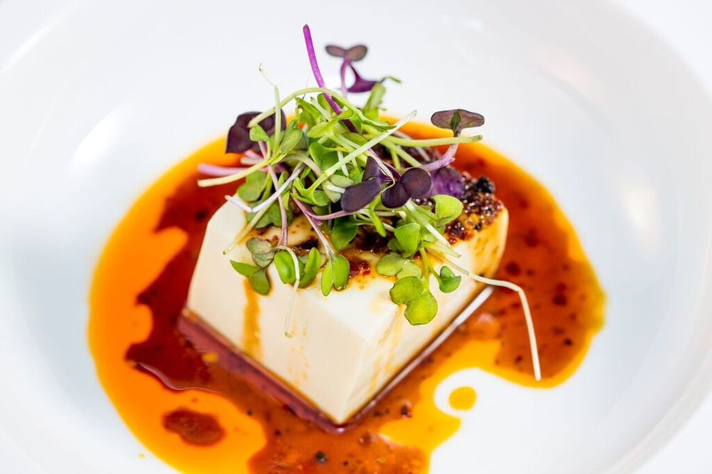 Chilled tofu with spicy sauce - SO good!