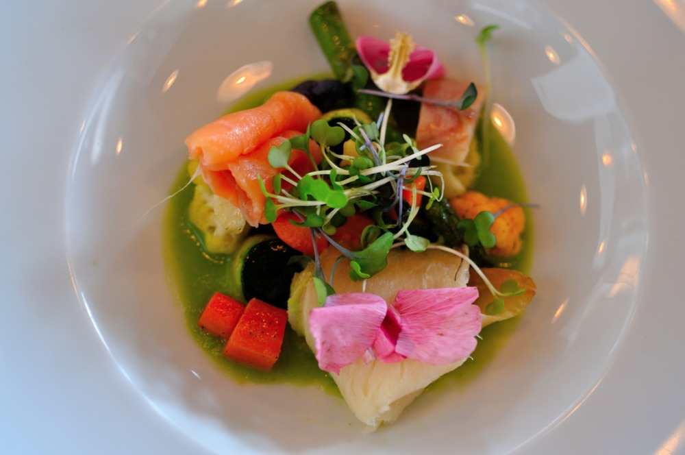 Vegetables with smoked salmon and halibut