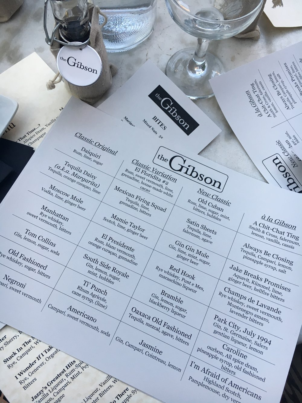 Gibson DC Spring 2017 cocktail menu