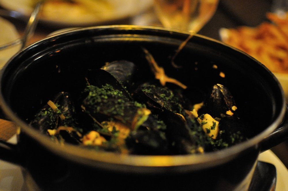 Huge pot of mussels