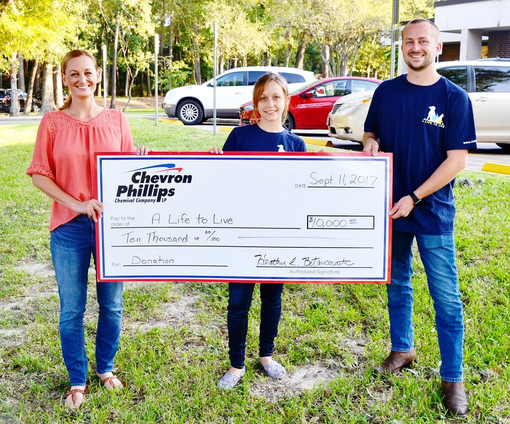 Heather Betancourth - Chevron Phillips Chemical community relations (left), Magan Gonzales - A Life to Live cofounder and program director (middle), Jay Garrett - A Life to Live founder and executive director (right)