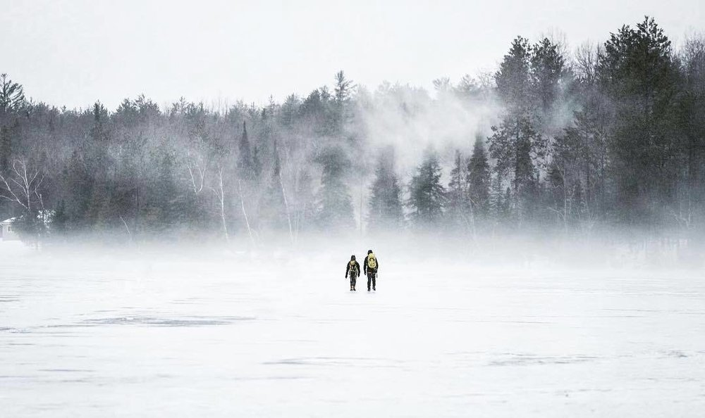 """""""Heading back to camp after an awesome afternoon ice climbing on Diamond lake."""