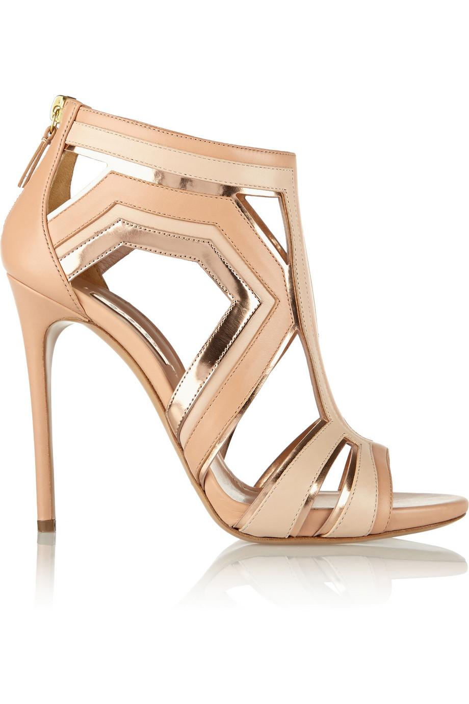Casadei Panel Leather Sandals $480