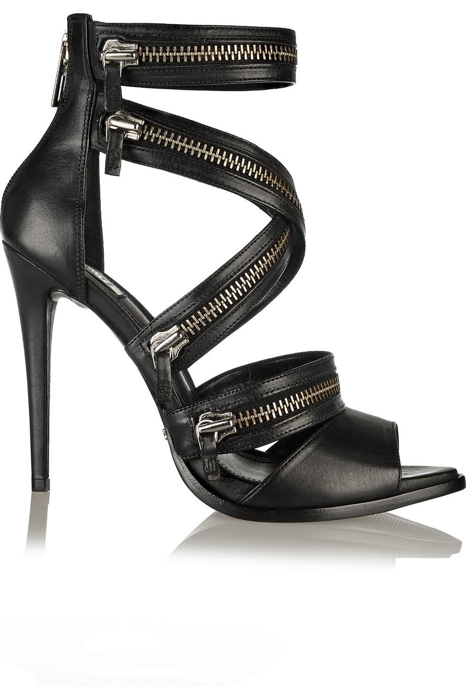 Schutz Nara Zipper Leather Sandals $144