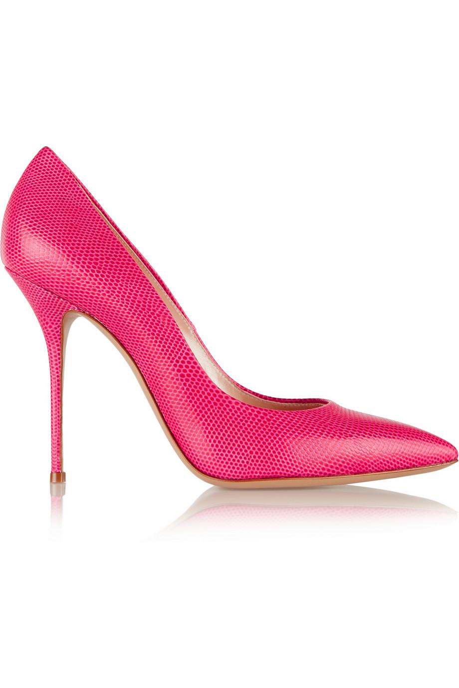 Casadei Snake Effect Neon Pink Pumps $220.50