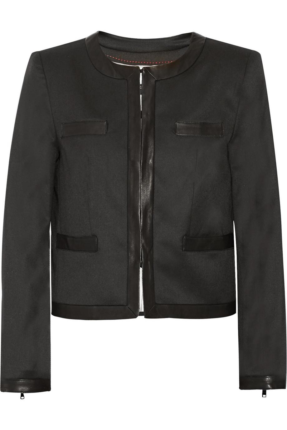 Alice & Olivia Jayde Leather Trimmed Jacket $220