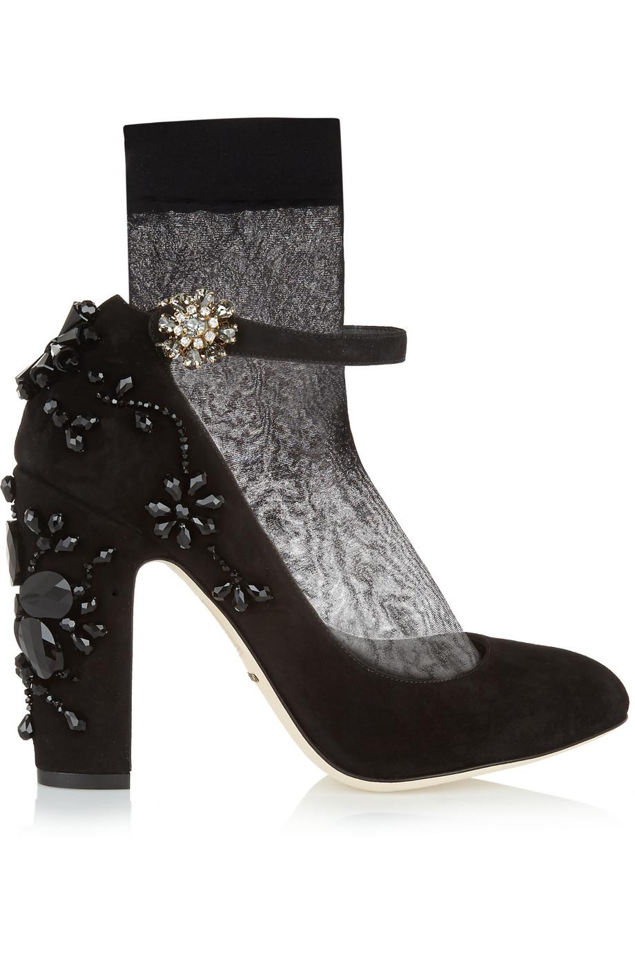 Dolce & Gabbana Embellished Suede Pumps $797.50