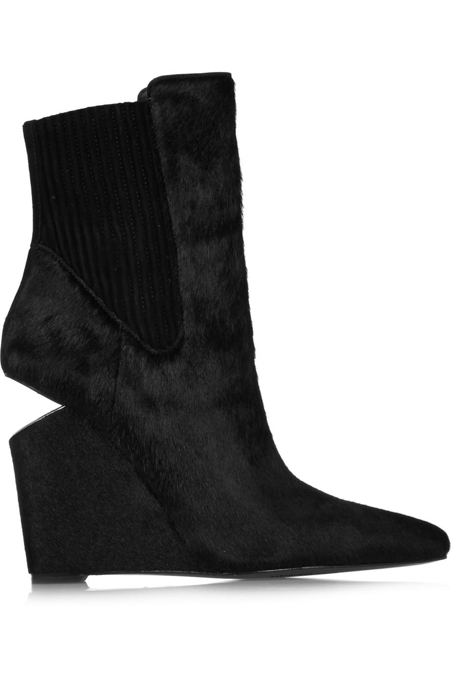 Alexander Wang Andie Calf Hair Wedge Boots $380