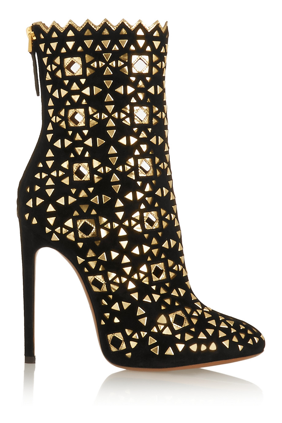 Alaia Gold Embellished Suede Boots $1388