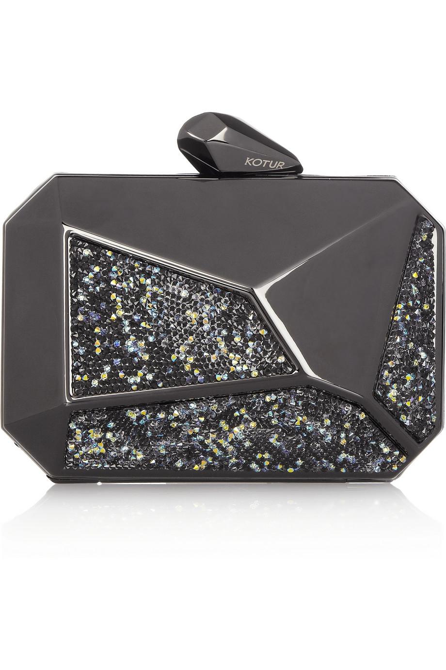 Kotur Pearce Swarovski Crystal Gunmetal Clutch $420