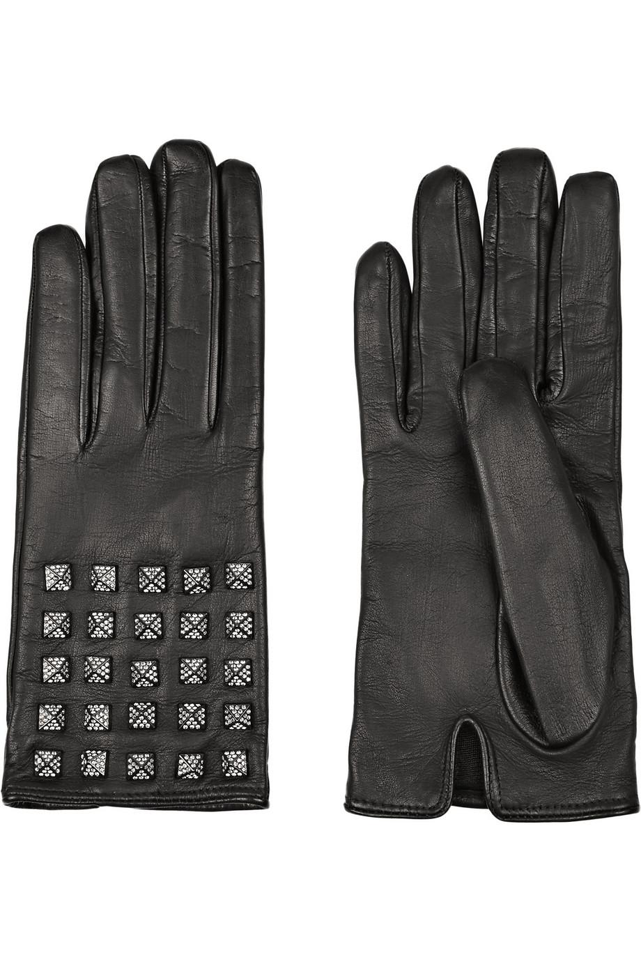 Valentino Pave Studded Leather Gloves $745.25