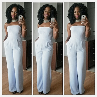 Now this seems to be the new 2015 Spring/Summer colour and I always love a jumpsuit! Not white...Periwinkle. The length was a little bit of an issue but nothing a little double sided tape couldn't fix ;)
