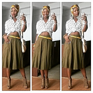 I promise you this outfit was a complete fluke. I wore this for the private screening of 'The Gift'. The shortfilm I shot late last year, centered around the horrific earthquake that hit the beautiful island of Haiti in 2010.  So I used Haiti as my inspiration.  I started with the skirt, then came the top, then the headwrap and then the yellow earrings/belt to tie it all in together. I usually wouldn't combine patterns (because I'm not that good at it), but this happen to work out so I left it alone and left the house before I changed my mind lol