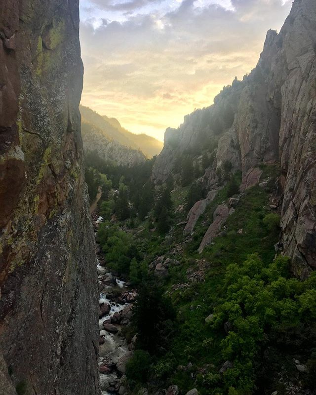 The Bastille Crack is 5 pitches of hand and finger cracks, laybacks, roofs and chimneys. Got to check off the über classic climb in Eldo earlier this week and was rewarded with this view 200 ft. up. Thanks for the catch and for capturing this beaut, @tradbrad13!