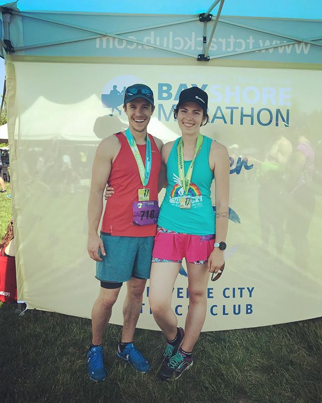 Put some mileage under the feet today for the @tctcbayshore marathon. Hell of a race! Thanks for the motivation, papa—we love you. #livelikepfs