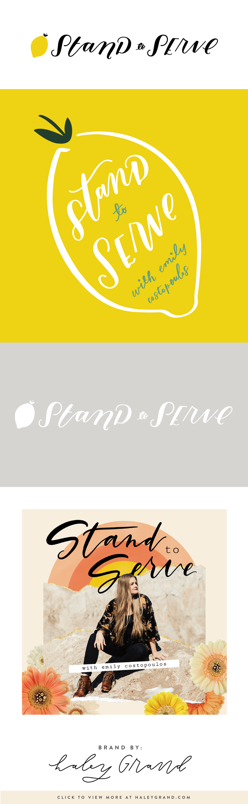Get inspired by this hand-lettered logo and podcast cover art. Haley designed the hand-drawn icons and the collage covers. Are you a creative entrepreneur? Up-level your brand with a logo designed using hand lettering and illustration by Haley Grand! #handlettered #podcast #branding